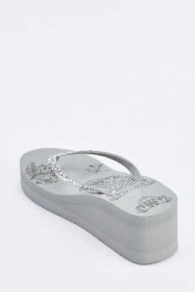 Glittered Wedge Flip Flops