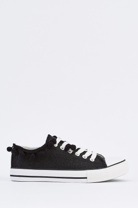 Pom Pom Trim Low Top Trainers