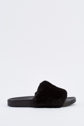 Short Faux Fur Sliders
