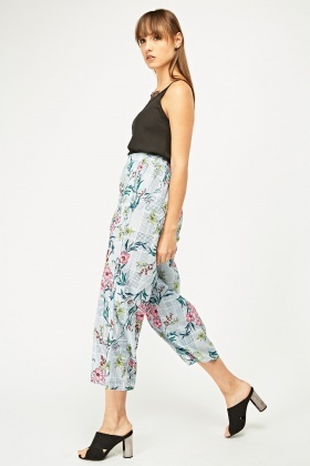 Floral Houndstooth Print Culottes
