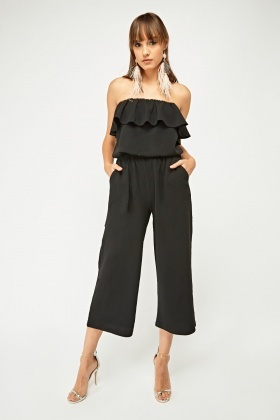 Frilly Strapless Culotte Jumpsuit