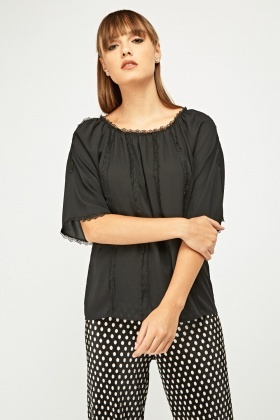 Lace Trim Cut Out Shoulder Sheer Blouse