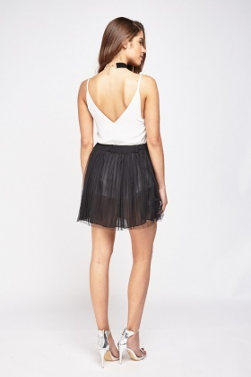 Net Mesh Pleated Mini Skirt