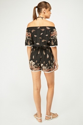 Off-The-Shoulder Feather Print Playsuit