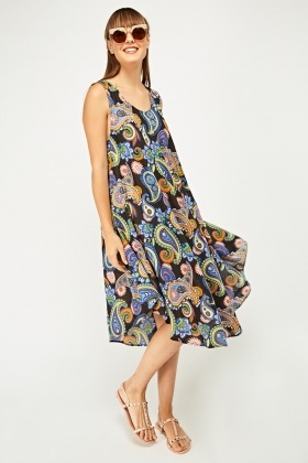 Paisley Printed Frilly Tent Dress