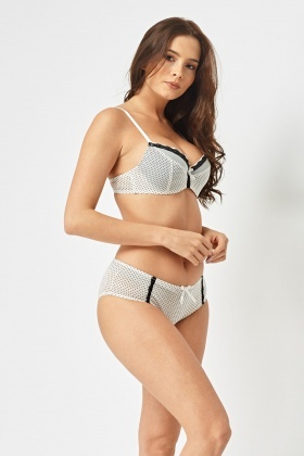 Polka Dot Lace Trim Bra And Brief Set