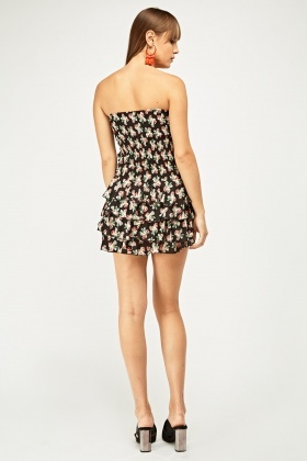 Printed Bandeau Frilly Tiered Dress