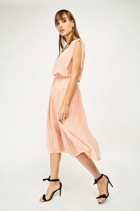 Sheer Pleated Midi Dress