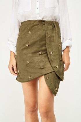 Star Studded Suedette Wrap Skirt
