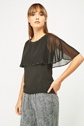 Studded Trim Flare Sheer Top