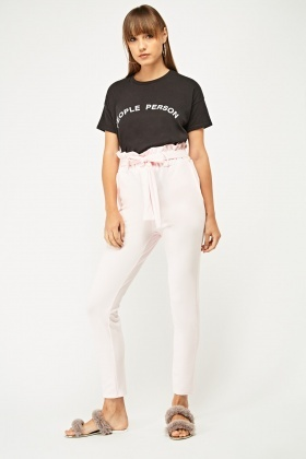 Tie Up High Waisted Tapered Trousers