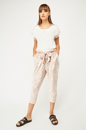 Velveteen Tapered Crop Trousers