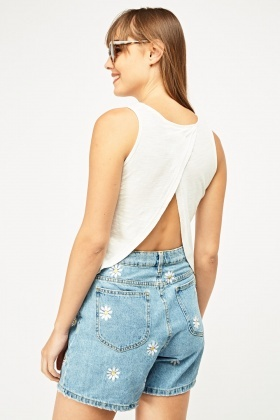 Wrap Back Asymmetric Crop Top