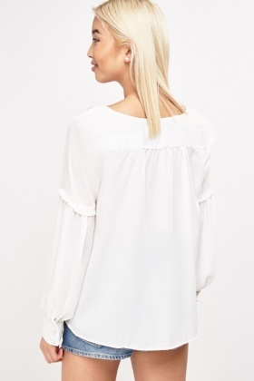 Bishop Sleeve Sheer Blouse