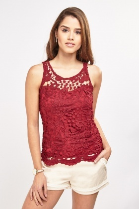 Crochet Lace Overlay Top