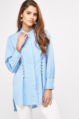 Faux Pearl Detailed Shirt