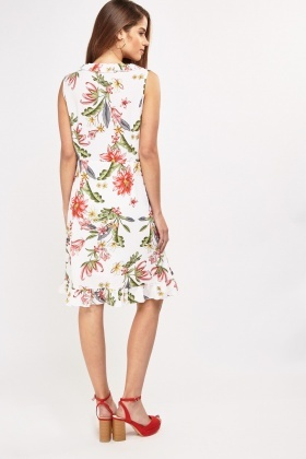 Floral Printed Frilly Wrap Dress