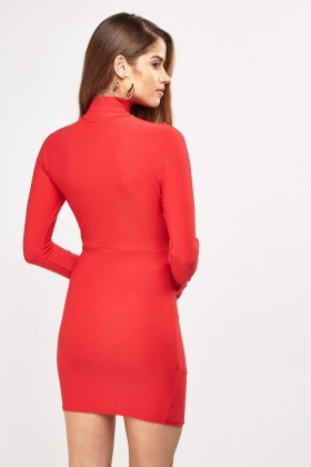 High Neck Ruched Bodycon Dress