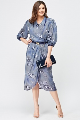 Optical Illusion Print Wrap Dress