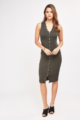 Poppers Detail Front Midi Dress