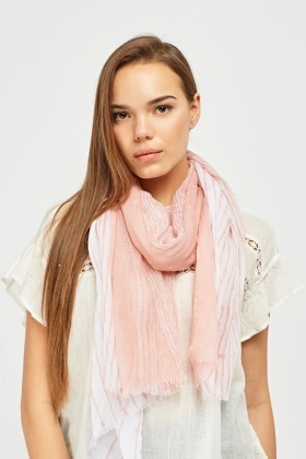 Printed Raw Edge Scarf