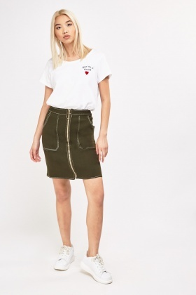 Zipped Front Stitched Denim Skirt