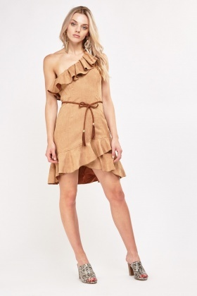 Asymmetric Frilly Suede Dress