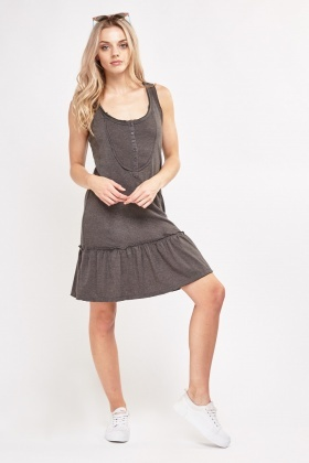 Basic Frilly Hem Jersey Dress
