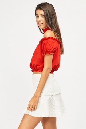 Choker Neck Off Shoulder Crop Top