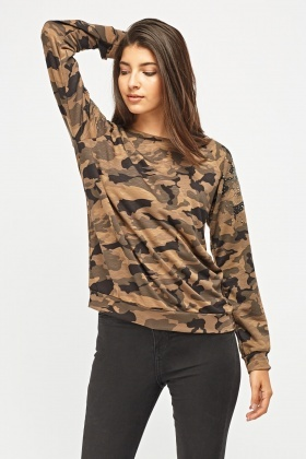 Embellished Sleeve Camouflage Top