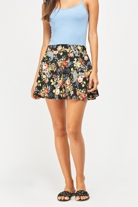 Mixed Paisley Print Mini Skirt
