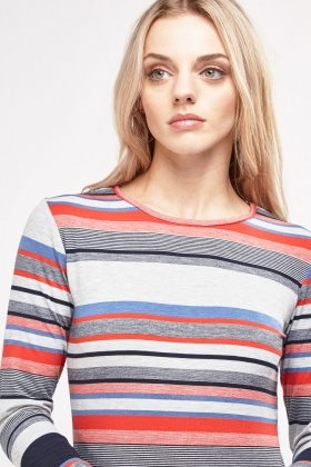 Mixed Striped Long Sleeve T-Shirt
