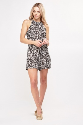 Printed Halterneck Playsuit