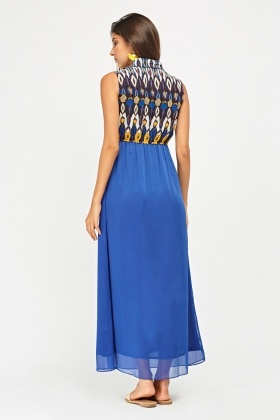 Printed Sheer Bodice Maxi Dress