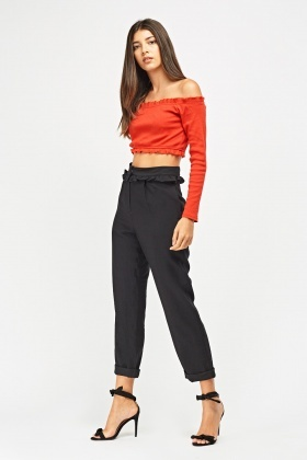 Roll Up Frilly Trim Trousers