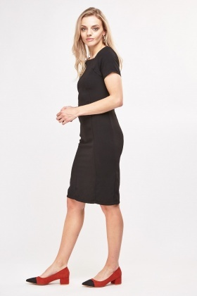 Square Neck Detail Pencil Dress