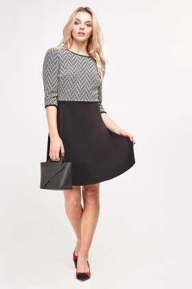 Textured Bodice Skater Dress