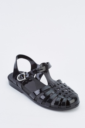 Black Jelly Sandals