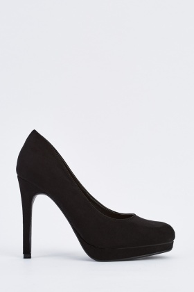 Black Suedette Court Heels