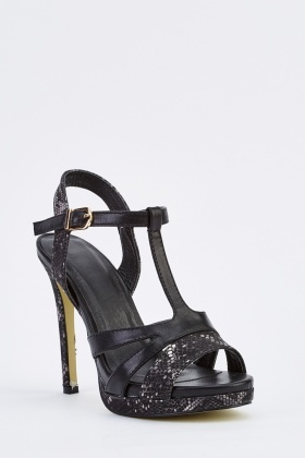 Contrasted T-Strap Heeled Sandals