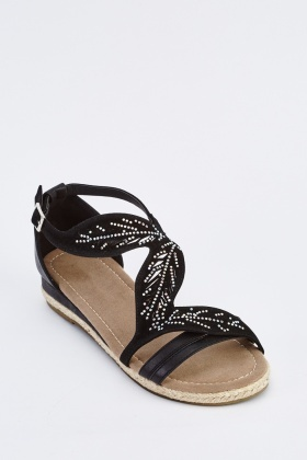 Embellished Leaf Cut Out Sandals
