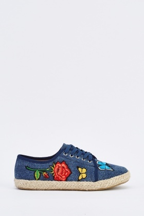 Embroidered Denim Espadrilles