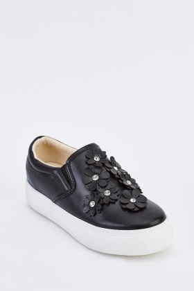 Faux Leather 3D Front Plimsolls