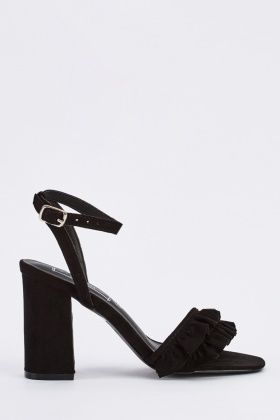 Frilly Trim Ankle Strap Heels