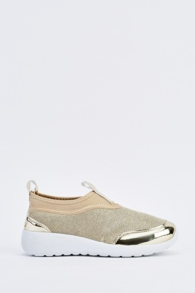 Lurex Contrast Slip On Trainers
