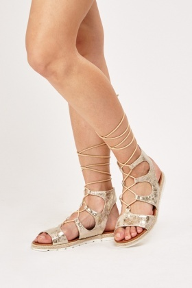 Metallic Lace Up Sandals