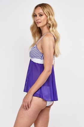 Striped Triangle Contrast Babydoll