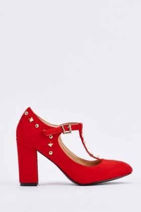 Studded T-Bar Block Heel Pumps