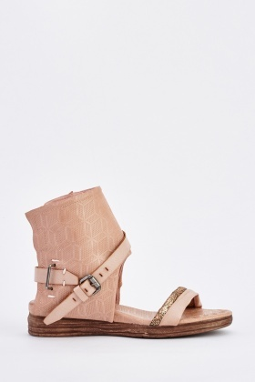 Textured Faux Leather Gladiator Sandals