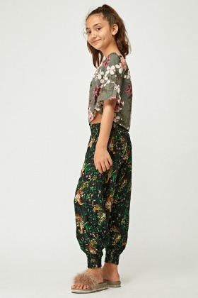 Tropical Printed Harem Trousers